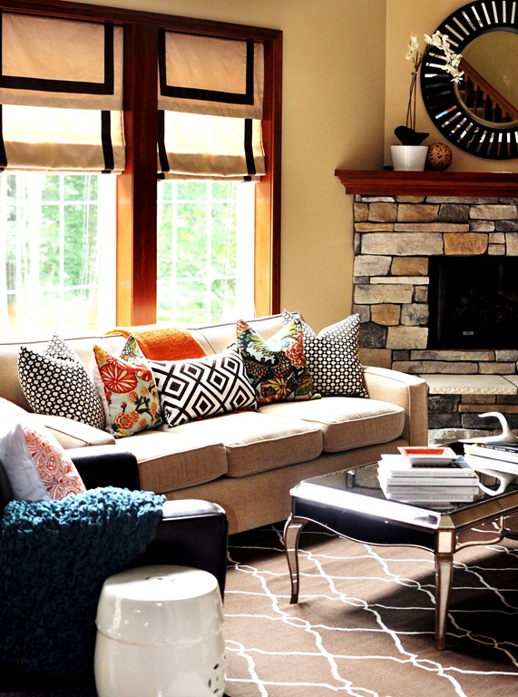 Clarke Fabric Sectional Sofa Living Room: Julie's Living Room: Happy Punches Of Color