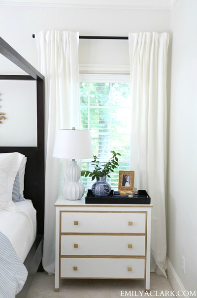 gold and white bedroom nightstands