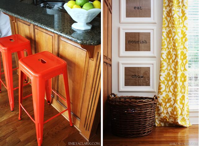 adding color to a dark kitchen