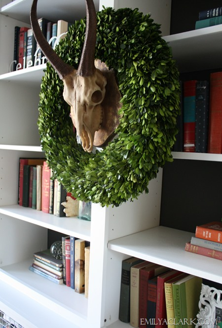 antlers with boxwood {Christmas home tour at emilyaclark.com}