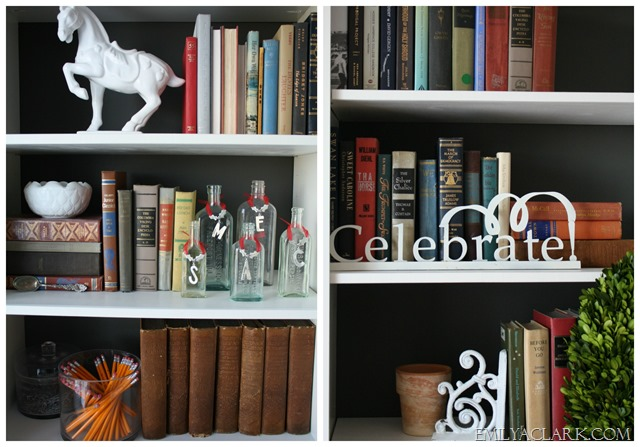 bookcases {Christmas home tour at emilyaclark.com}