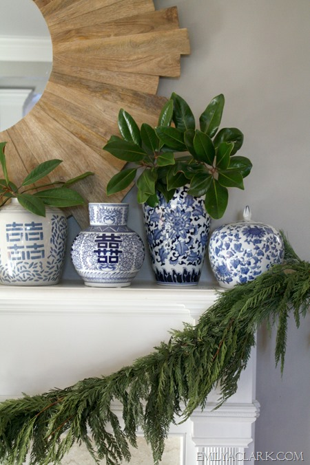mantel greenery (Christmas tour via emilyaclark.com)