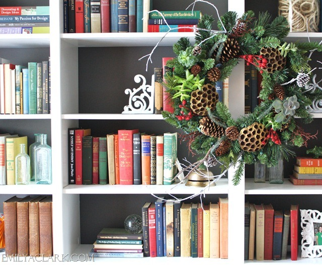 wreath on bookcases