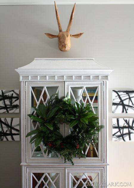 wreath on cabinet