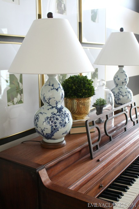 blue and white lamps