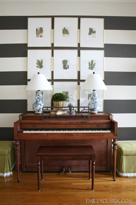 blue and white lamps in striped foyer