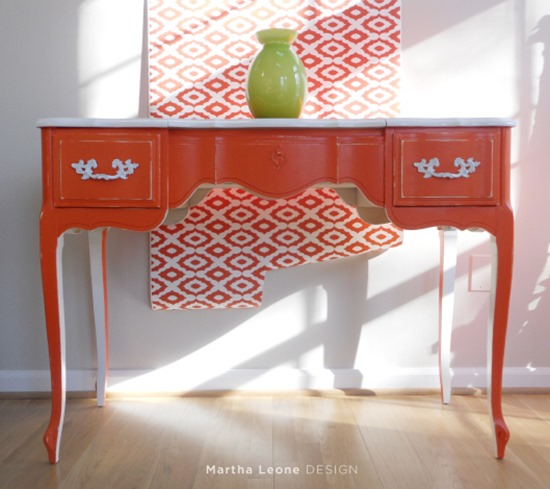 orange painted desk