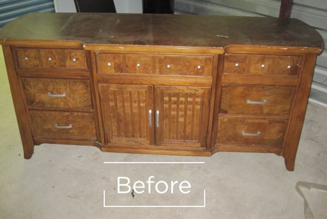 wood buffet before