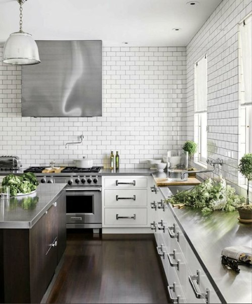 open kitchen with subway tile