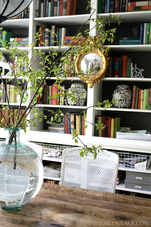 mirror on bookcases
