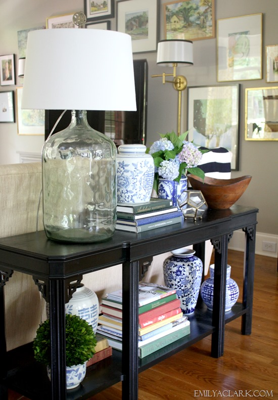 Styling a new to me console table emily a clark Decorating end tables without lamps