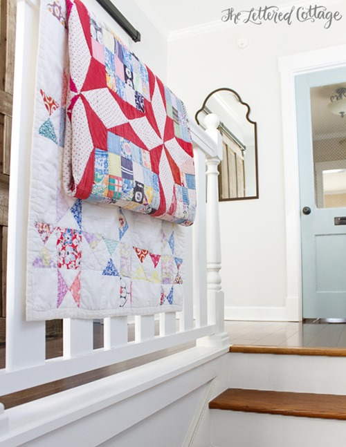 quilts-on-stairrail