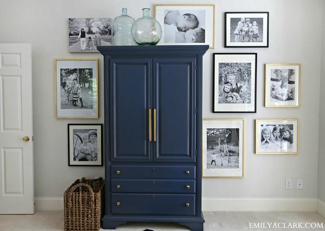 master bedroom family photo wall