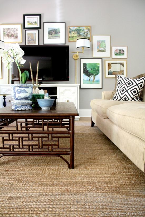 living room art wall around TV