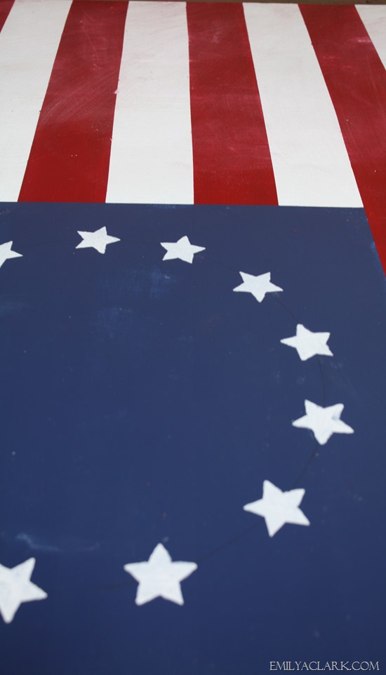 painted American flag sign
