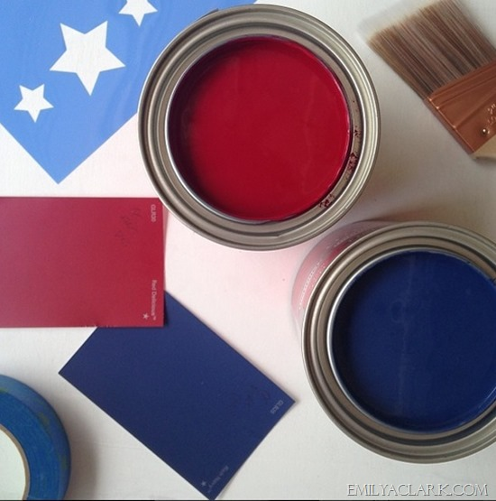 Painted Blue American Flag
