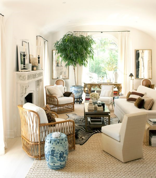 layered neutral living room mark d sikes via house beautiful - House Beautiful Living Room Colors