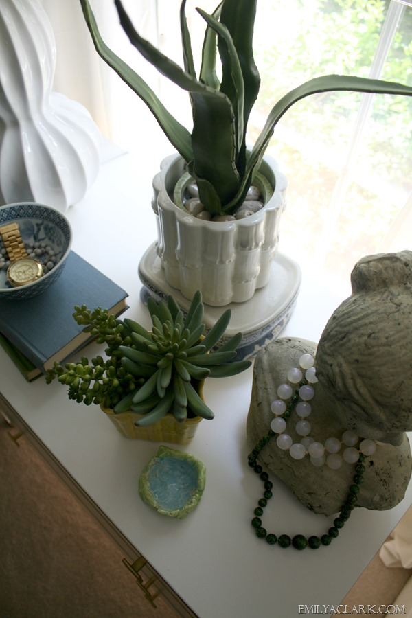 succulents on nightstand