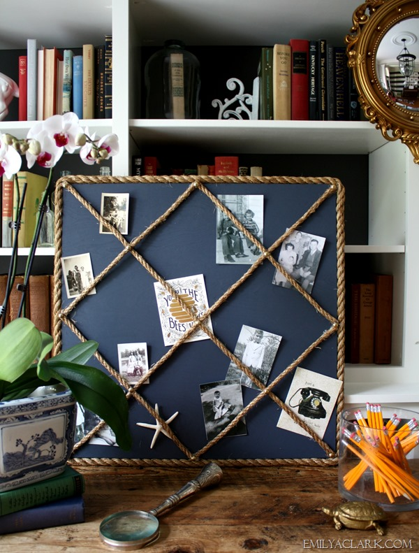DIY rope memo board in office