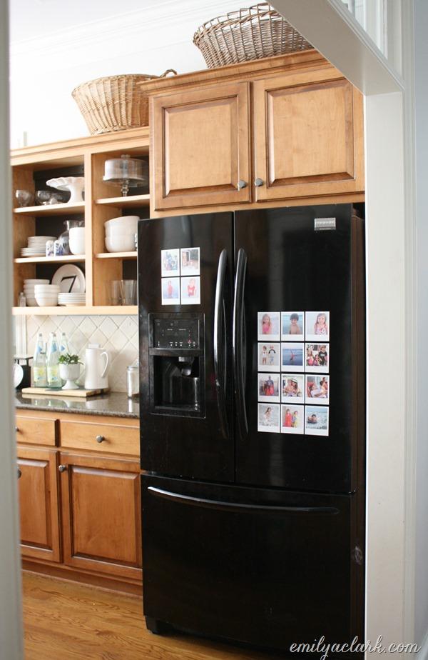 picture decals on kitchen fridge