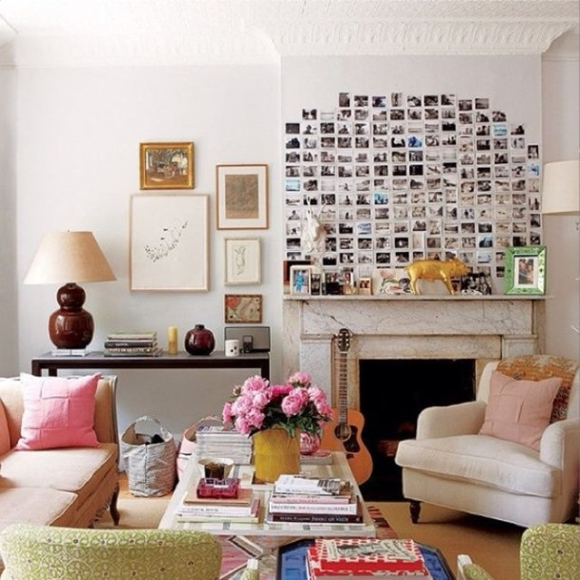 picture wall above fireplace