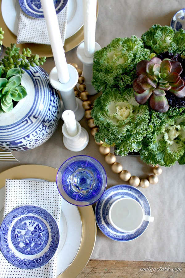 Blue & white Thanksgiving tablescape