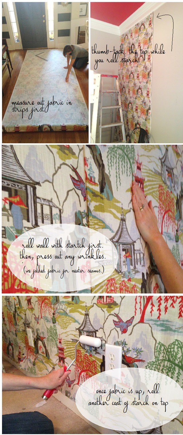 How To Hang Fabric On Walls diy fabric wall in the girls' bedroom - emily a. clark