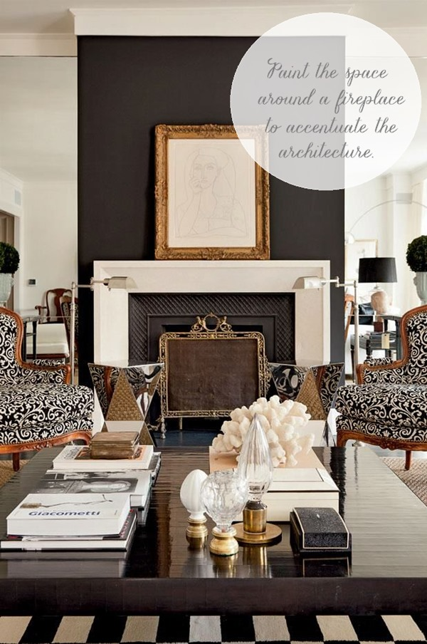 black paint around fireplace