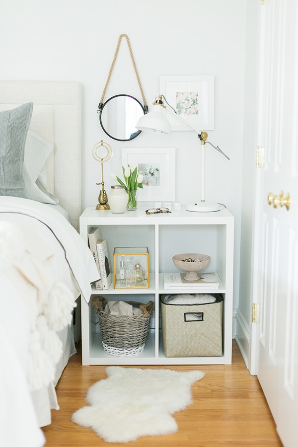 everygirl-ikea-expedit-shelf-nightstand-styling