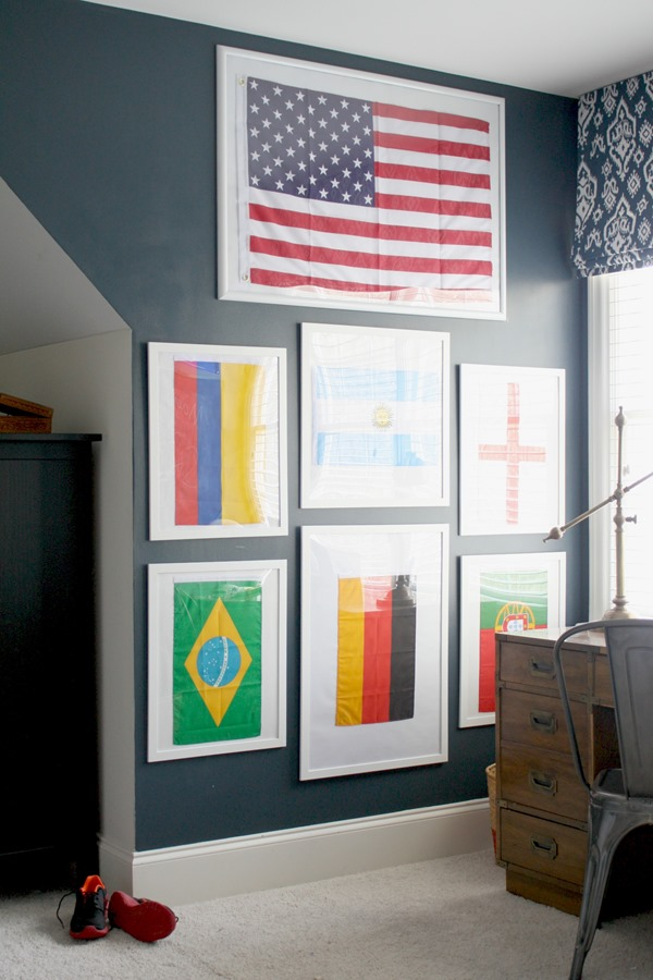 The Boysu0027 Bedroom: A Framed Flag Wall