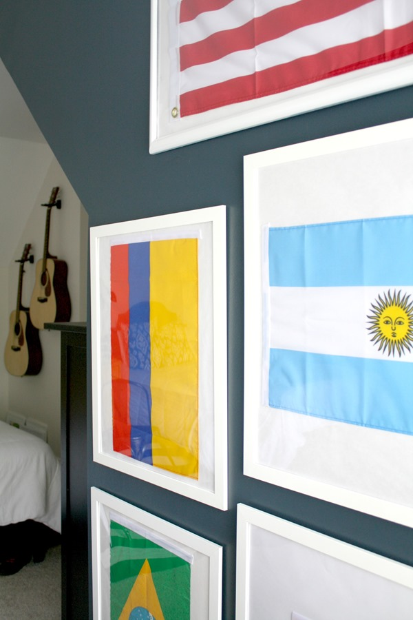 framed World Cup country flags