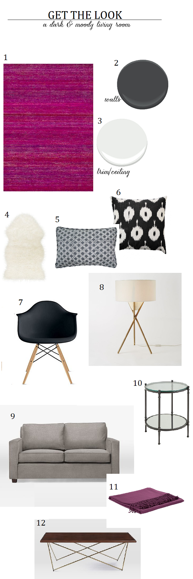 dark & moody living room product board