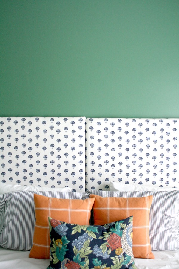 Upholstered headboards in boy girl shared bedroom