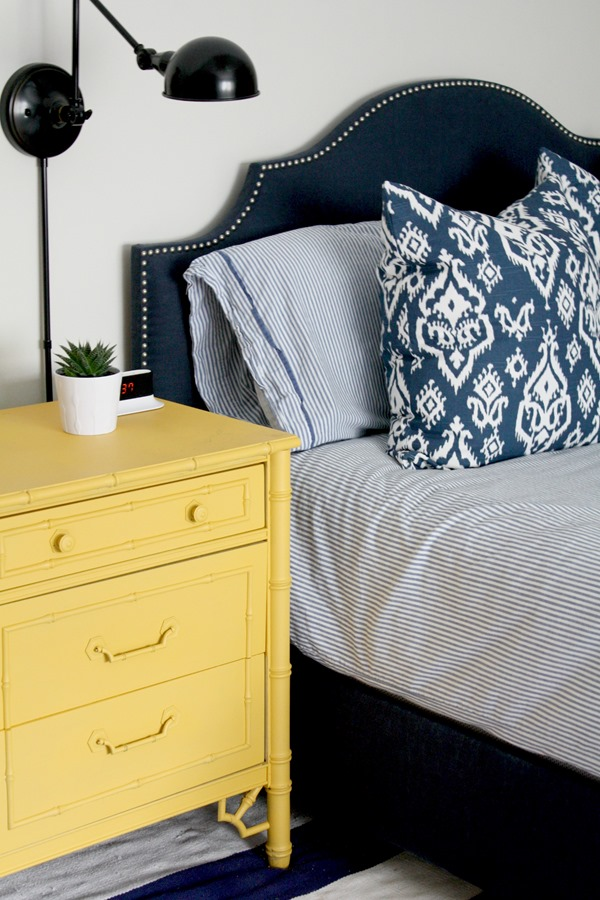 Yellow faux bamboo dresser