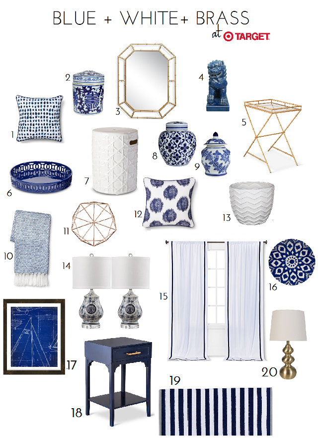 Blue white accessory finds at target emily a clark Target blue home decor
