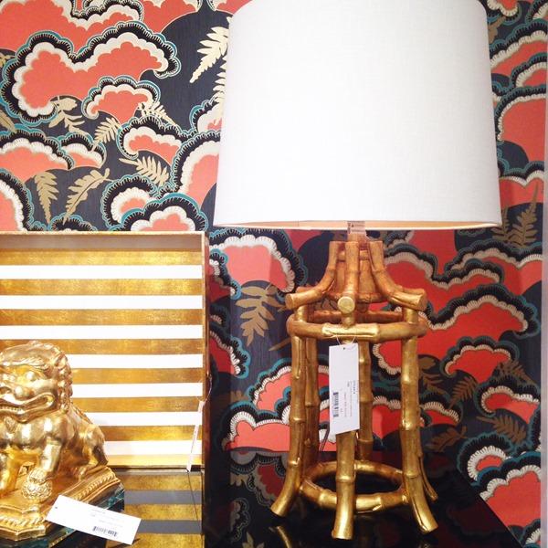 gold bamboo lamp, wallpaper