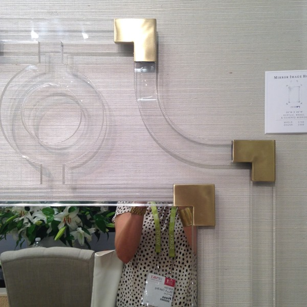 lucite and brass mirror