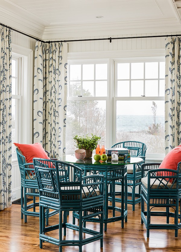 beach house, painted ratten chairs