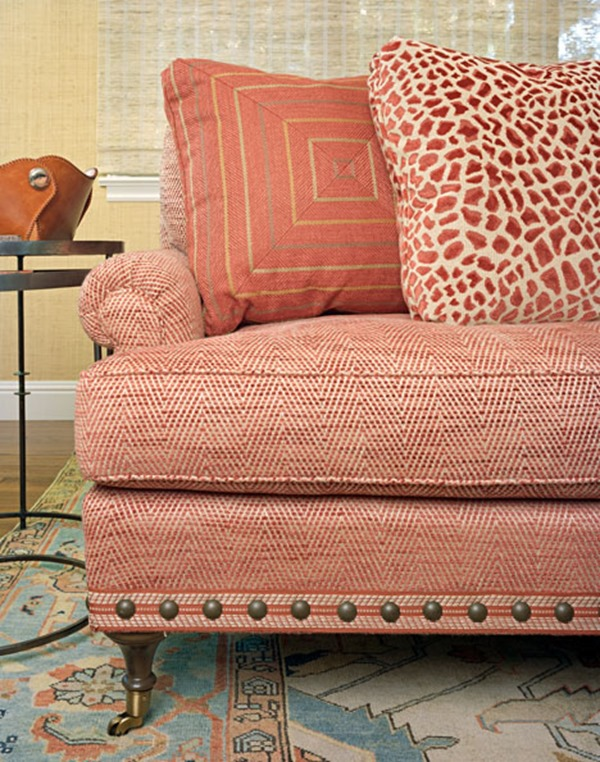 Clarke Fabric Sectional Sofa Living Room: Small Pattern On The Sofa