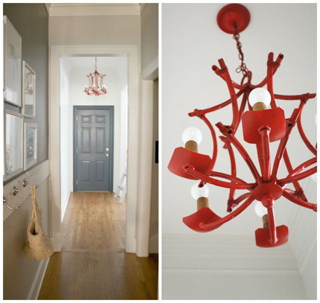 bamboo chandelier + navy door