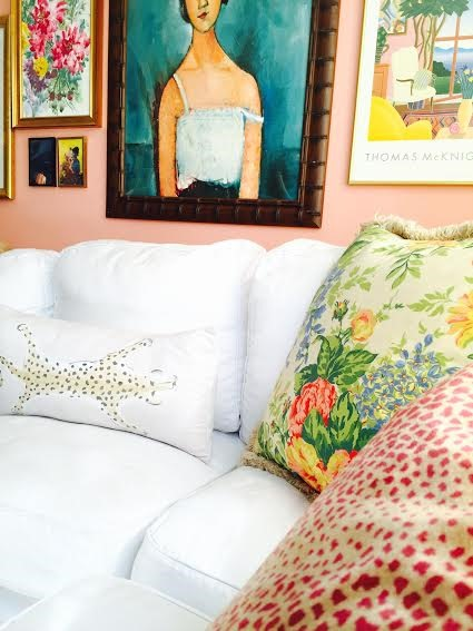 gallery wall above sofa
