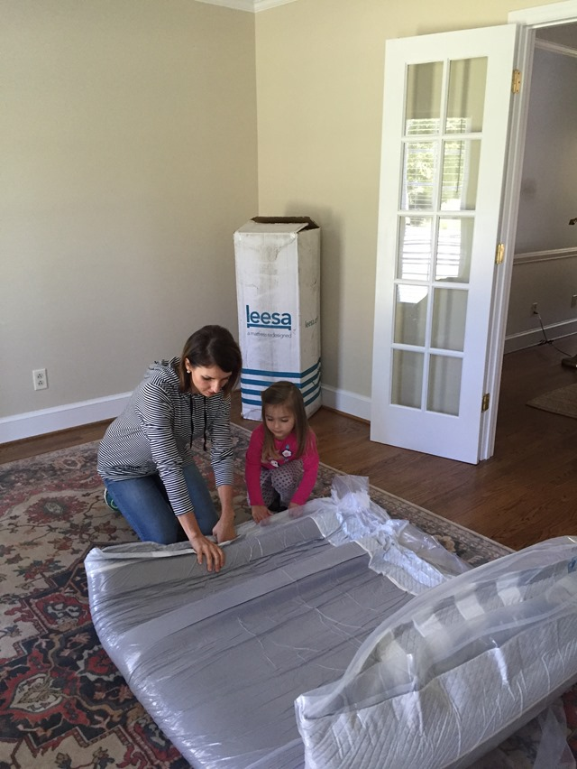 unpackaging Leesa mattress