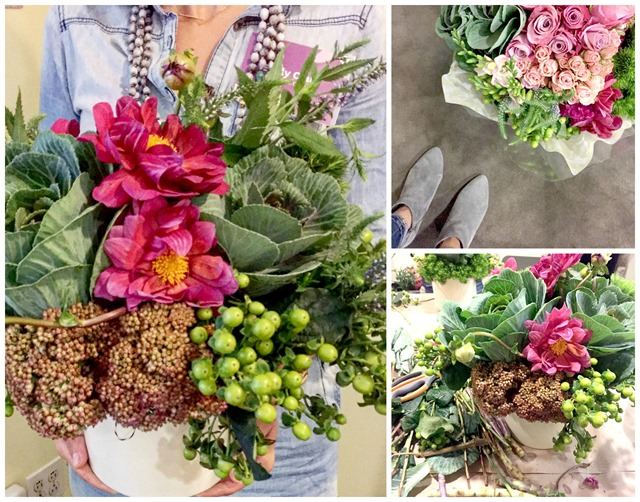 Fall flower arranging with kale