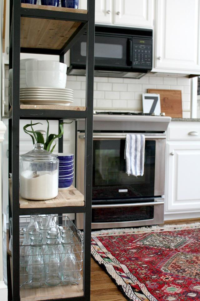industrial bookcase in kitchen