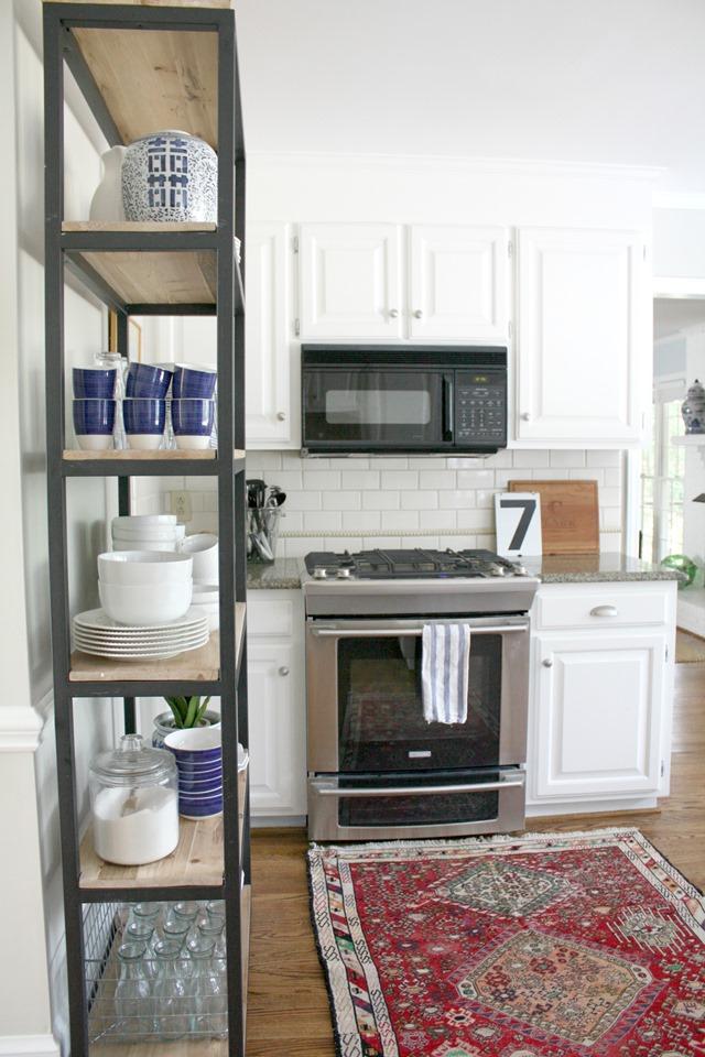 white kitchen white dishes kitchen bookshelf storage - Kitchen Bookshelves