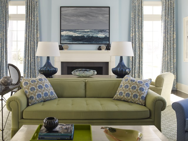 Painting our living room light blue emily a clark - What colors go with olive green walls ...