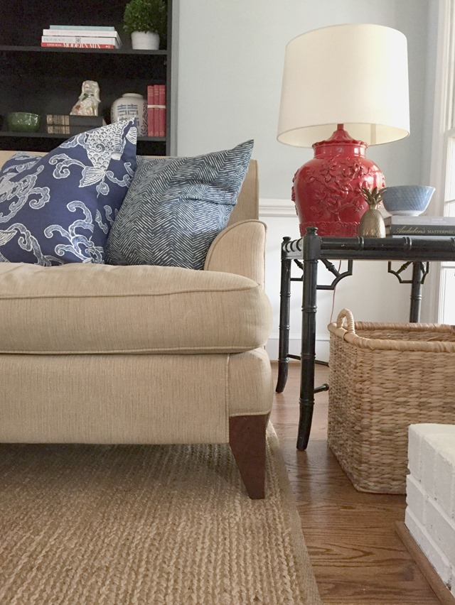 Red lamp in living room