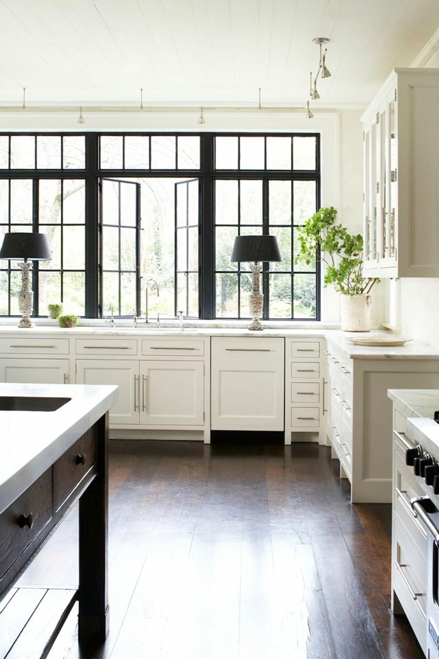 Black Windows White Kitchen