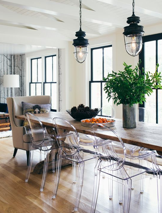 Black Windows White Kitchen Source Farmhouse Dining Room