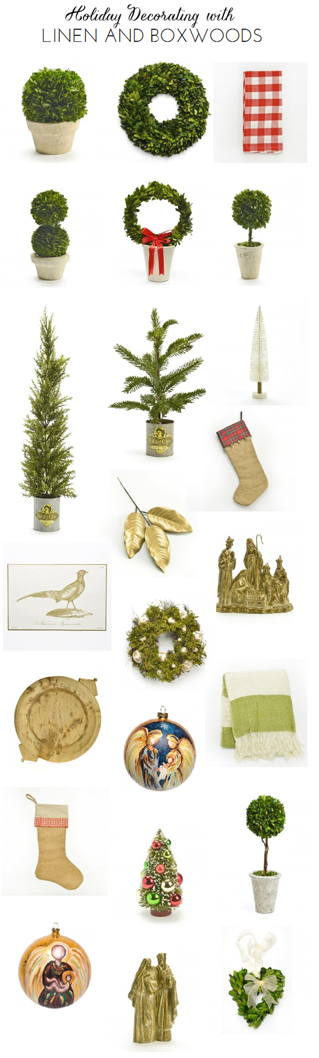 Linen and Boxwoods holiday